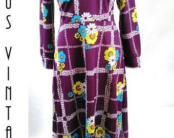 "Plus Size UK 16 Vintage 1970s Maxi Dress Ditsy Floral Geometric Boho Hippy EU 44 US 12 Bust 42"" 107cm"