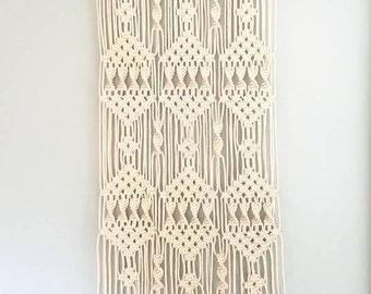 Large Macrame Wall Hanging, White Cotton Cord 2