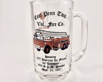 Glass Mug, Volunteer Fire Department, Vintage Fire Truck Beer Mug, Handle, Dedication Drinking Mug, American La France Fire Engine, 1970s