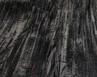 CRUSHED BLACK VELVET 53 inch  Fabric by the yard