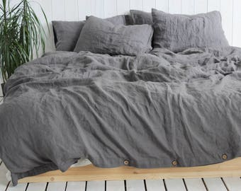 Organic Duvet Cover Dark Gray Natural 100% Linen Duvet Cover or Duvet cover set Twin Queen CalKing King Full Double US Bed StoneWashed Linen