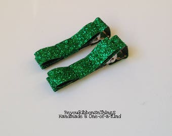 Glitter Green | Hair Clips for Girls | Toddler Barrette | Baby Hair Clips | Kids Hair Accessories | No Slip Grip | Christmas | Holidays