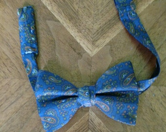 Vintage Blue Paisley Butterfly Bowtie/ Pre Tied/ The Original ADJUSTOTIE/ Fall Bow tie/ Winter Bow Tie/ Preppy/ Hipster