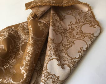 1 Metre x Gold & Pewter Grey/Silver Silk Blend Jacquard Stretch Fabric