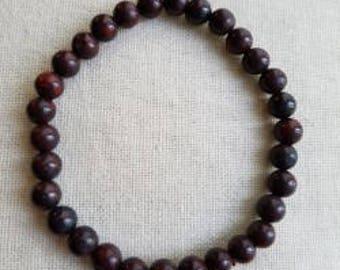 Rosewood Bead Stretch Bracelet