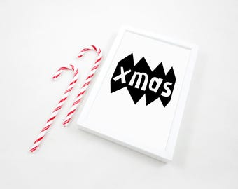 Xmas Printable Print, Christmas Art Print, Christmas Printable, Santa Print, Xmas Poster, Kids Room Wall Art, Christmas Gift, Decor, JPG PDF