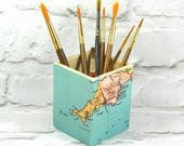 Custom Map Art Brush Pot, Wanderlust Gift, Make Up Pot, Pencil Holder, Desk Storage, Desk Tidy, Choose your location! Free Gift Wrapping!