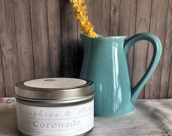 Coronado - Natural Soy Wax Candle - Hand poured - Made in Michigan - Vanilla - Peach Blossom - Sandalwood - Tangerine - Housewarming Gift
