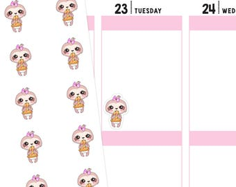 Pizza Sloth Planner Stickers, Pizza Stickers, Sloth Planner Stickers, Sloth Stickers, Food Stickers, Fast Food Stickers