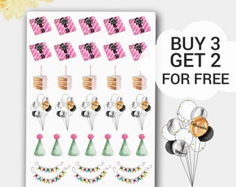 Party Planner Stickers for Life Planners, Party Hats, Birthday Hats, Happy Stickers, Happy Planner Party Stickers