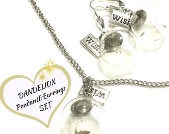 Earring and Pendant Set of Dried Dandelion Seeds, Wishes Three piece Jewellery Set, Good luck Gift,On Trend Style Gift, Free Local Shipping