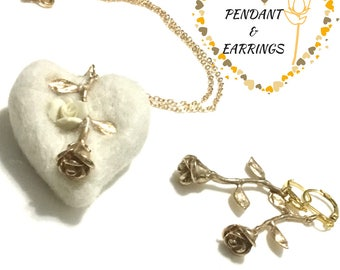 White  Felted Heart Pendant and Earrings, Silver Rose Earrings and Pendant Gift, Designer Pendant and Earring Set, On Trend Pendant Set,