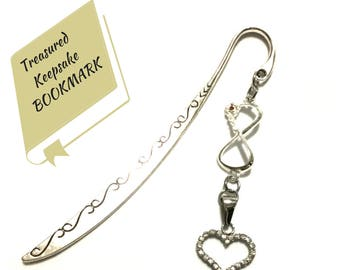 Rhinestone Heart Bookmark, Bling Infinity Bookmark, Stylish On Trend Gift,  Book Lover Gift, Versatile Letter Opener, Valentine Gift