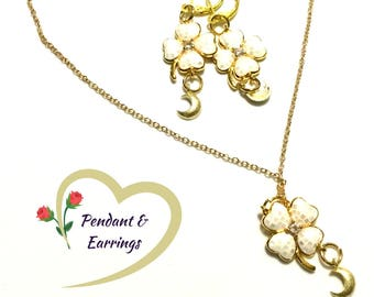 Gold Pearl Clover Drop Earrings and Pendant Set, On Trend  Earrings, Crescent Earrings, Enamelled Clover Earrings, Stylish Gift