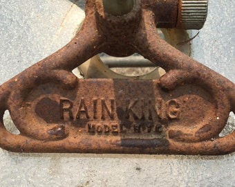Vintage Sunbeam Rain King Sprinkler- flexible shaft -1940's -comes with two nozzles -heavy wide base- rotating head-cast iron and brass