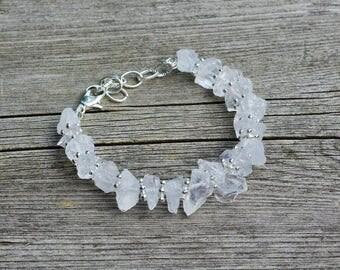Raw White Quartz Bracelet ~ Clear Chrystal ~ Semi Precious Stones ~ Wedding Wear ~ One of a Kind Jewellery ~ Boho Style ~ Bohemian