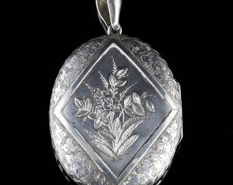 Antique Victorian Large Silver LocketDated 1880