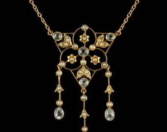 Antique Victorian 15ct Gold Aquamarine Pearl Necklace Circa 1900