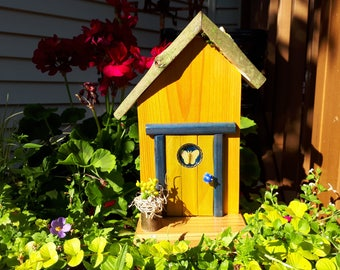 Yellow Fairy Door with Butterfly Window and Fairy Flower Pot