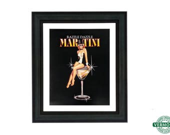 Retro Vintage Pin Up Girl, Unframed/Framed Art, Razzle Dazzle Martini Art Print by Ralph Burch, 1950s Pinup Girl, Vintage Ad Art, Alcohol