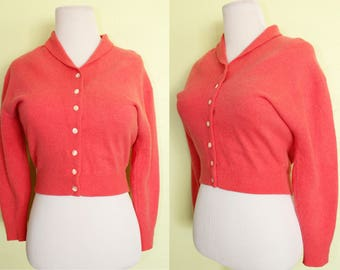 1950s Sweater- Cardigan- Hot Pink- Angora- Wool- Bad Girl