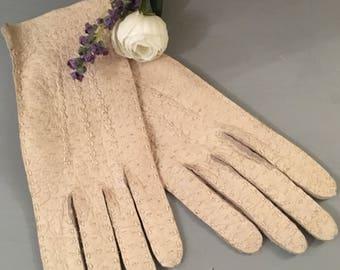 Vintage Ladies Soft Leather Gloves Size S