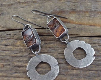 baltic amber earrings,  oxidized silver earrings