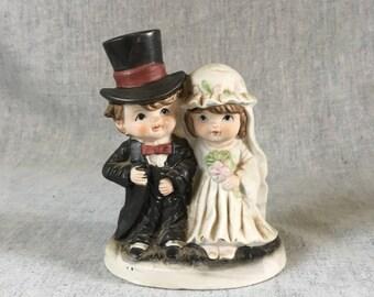 Vintage Child Bride and Groom Figurine, Wedding Cake Topper