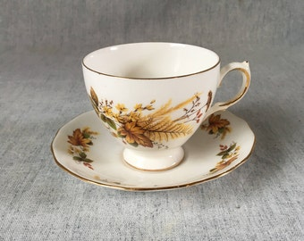 Vintage Queen Anne Autumn Leaves Bone China Teacup and Saucer