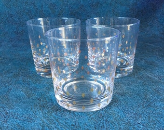 Vintage Gold Diamond Double Old Fashioned Glasses, Set of 3, Mid Century Modern Barware