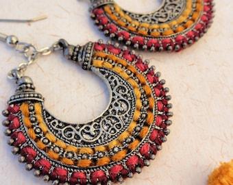 Ethnic crescent earrings, embroidered earrings, handmade jewelry, antique filigree earrings, ethnic chandelier earrings, textile jewelry