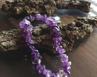 Amethyst and Herkimer Diamond Bracelet, Amethyst Bracelet