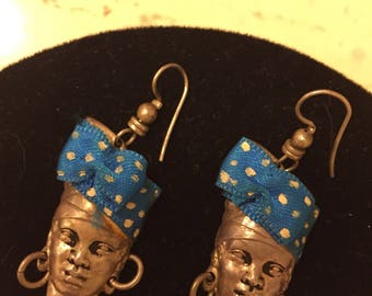 Vintage Dangle Silver and Blue Jamaican Earrings