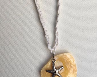 Orange Jingle Shell Pendant with Starfish Charm on Braided Cord