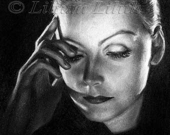 Pencil drawing. Greta Garbo.