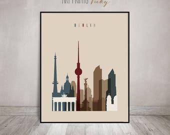 Berlin skyline, Berlin poster, art print, Travel decor, Wall art, Germany city print, Typography art, Gift, Home Decor, ArtPrintsVicky