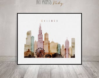 Chicago Art Print Watercolor, Chicago Skyline, Chicago Poster, Chicago Wall  Art, Illinois