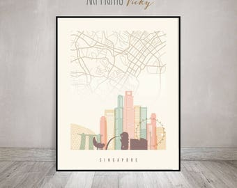 Singapore City Map Print Skyline Poster | ArtPrintsVicky.com