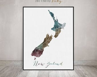 New Zealand watercolor map-Travel-New Zealand-Wall art-Travel print-map poster-New Zealand watercolor print-Fine art prints-ArtPrintsVicky