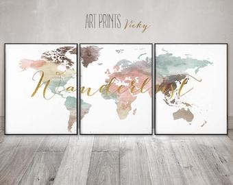 World map set of 3 prints, Wanderlust print, World map wall art, 3 pieces wall art, World map watercolour, travel map ArtPrintsVicky