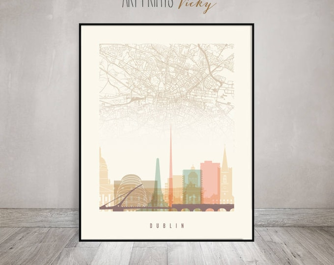 Dublin map, Dublin skyline print, poster, Ireland cityscape art, Wall art, Wall decor, Travel gift, City prints, Home Decor, ArtPrintsVicky