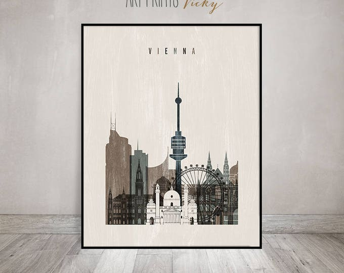 Vienna poster, Vienna art print, Wall art, Vienna skyline, Travel, Austria, distressed art, Wall decor, Gift, Home Decor, ArtPrintsVicky