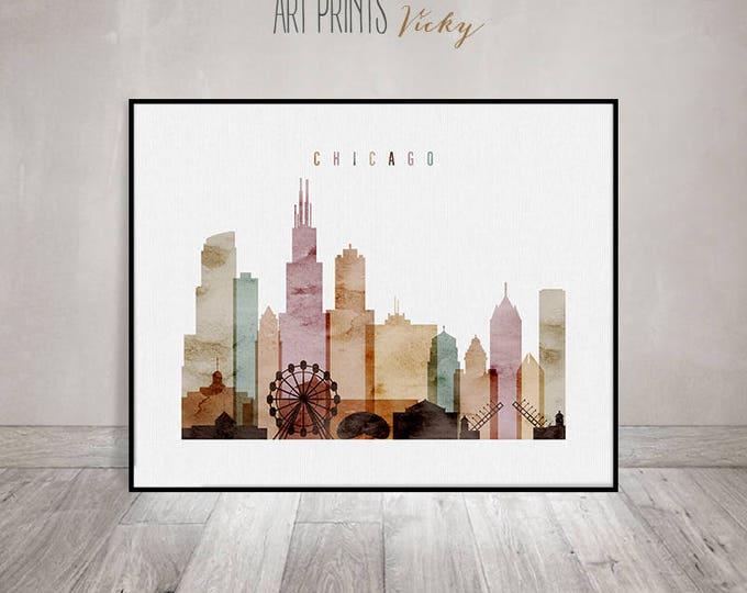 Chicago art print watercolor, Chicago skyline, Chicago poster, Chicago Wall art, Illinois, Gift, Travel decor, home decor, ArtPrintsVicky.