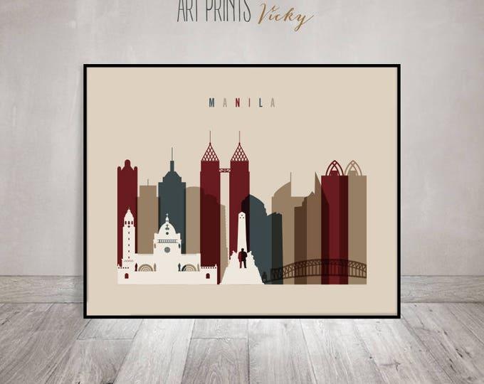 Manila art print, Poster, Manila Wall art, Manila skyline, Philippines, Office decor, Travel decor, Home Decor, Gift, ArtPrintsVicky