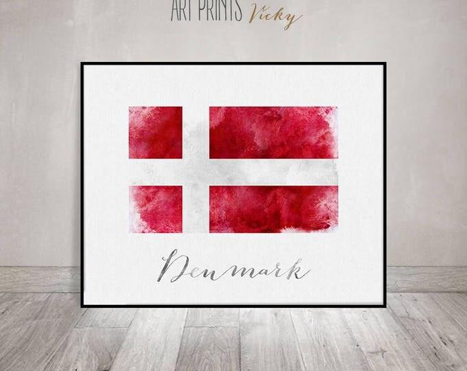 Denmark flag print, Denmark art poster, watercolor, Wall art, watercolor flag, typography art, office decor, Home Decor, Gift ArtPrintsVicky