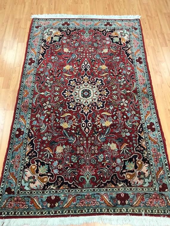 """3'7"""" x 5'7"""" Persian Bijar Oriental Rug - 1950s - Hand Made - 100% Wool"""