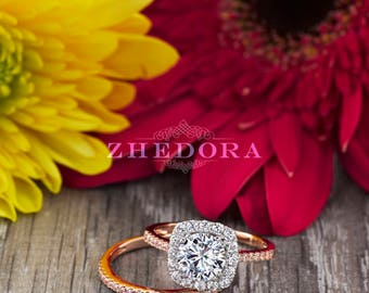 2.20 CT Round Halo Engagement Ring band Bridal Set Solid 14k or 18k Rose & White Gold, Unique Rose Gold Engagement Rings by Zhedora