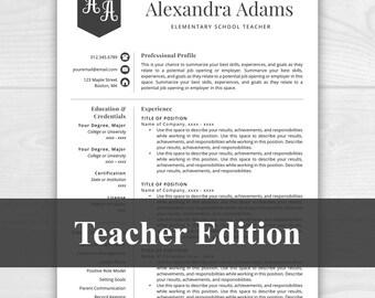 Teacher Resume Template For Word U0026 Pages, Teacher Template, Resume For  Teacher, Educator  Resume Template Teacher