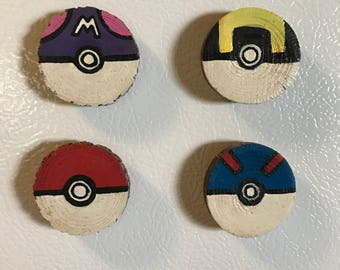 Pokeball Magnet Set, Stocking Stuffer, Gift Idea, Under 15, Wood Magnets