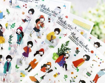 Heeda Stickers (6 sheets) / Planner Stickers / Cute Stickers / Korean Stationery / Cute Diary Sticker / Kawaii Stickers / Cute Stationery